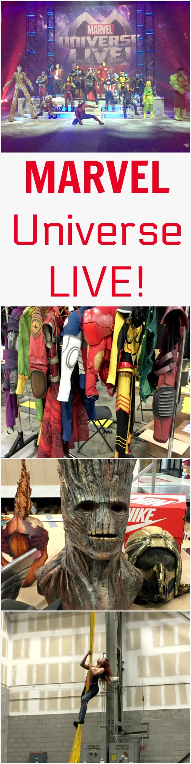 A behind the scenes look at Marvel Universe LIVE! Get a close look at the costumes, cast, and stunts in the performance. Also see a behind the scenes motorcross video!
