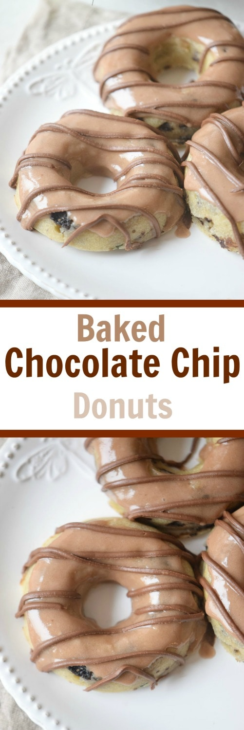 The baked chocolate chip donuts recipe is super easy to make and it's kid approved! This is a great easy breakfast recipe for the whole family to enjoy!