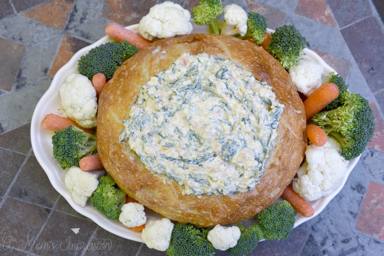 bread bowl spinach dip