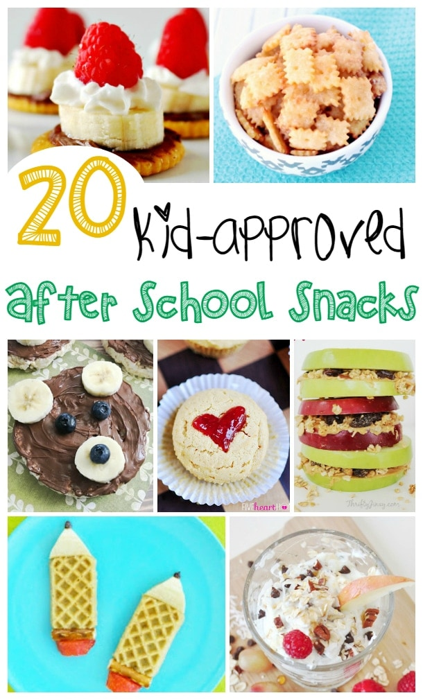 It's back to school time and what are you going to do for after school snacks?  Here are 20 fun After School Snack Ideas that your kids will love.