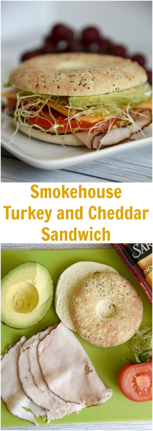 This smokehouse turkey and cheddar sandwich is a great easy lunch recipe for when you need new sandwich ideas in your rotation! #ad