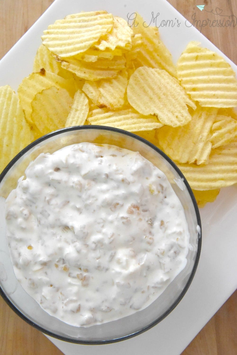 Chips and homemade onion dip
