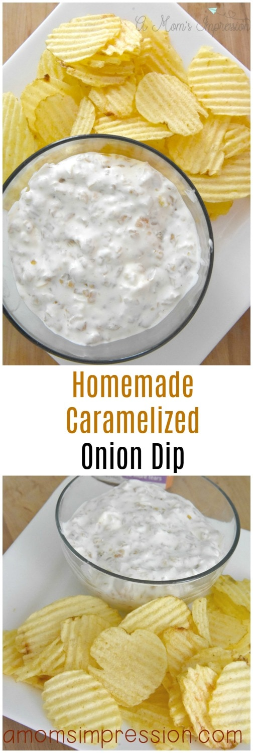 This easy homemade cramelized onion dip recipe can be made in under 5 minutes. This cold dip is perfect for chips for your next party. Made with sour cream, onions and cream cheese.