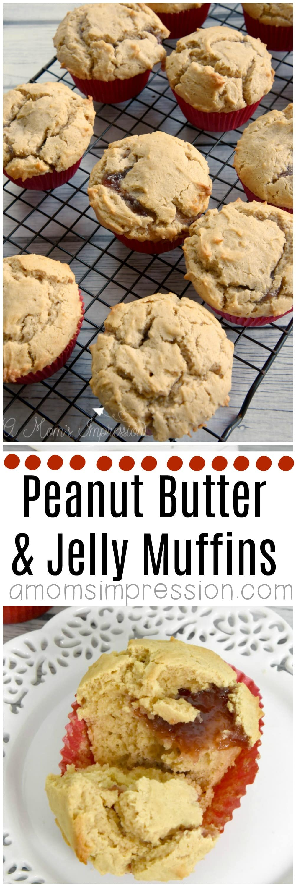 You are going to love these easy peanut butter and jelly muffins. Kids love them for breakfast, in their lunchbox, or even for an after school snack. I may have even had this recipe for dessert! They are very moist and more healthy than any store bought version.