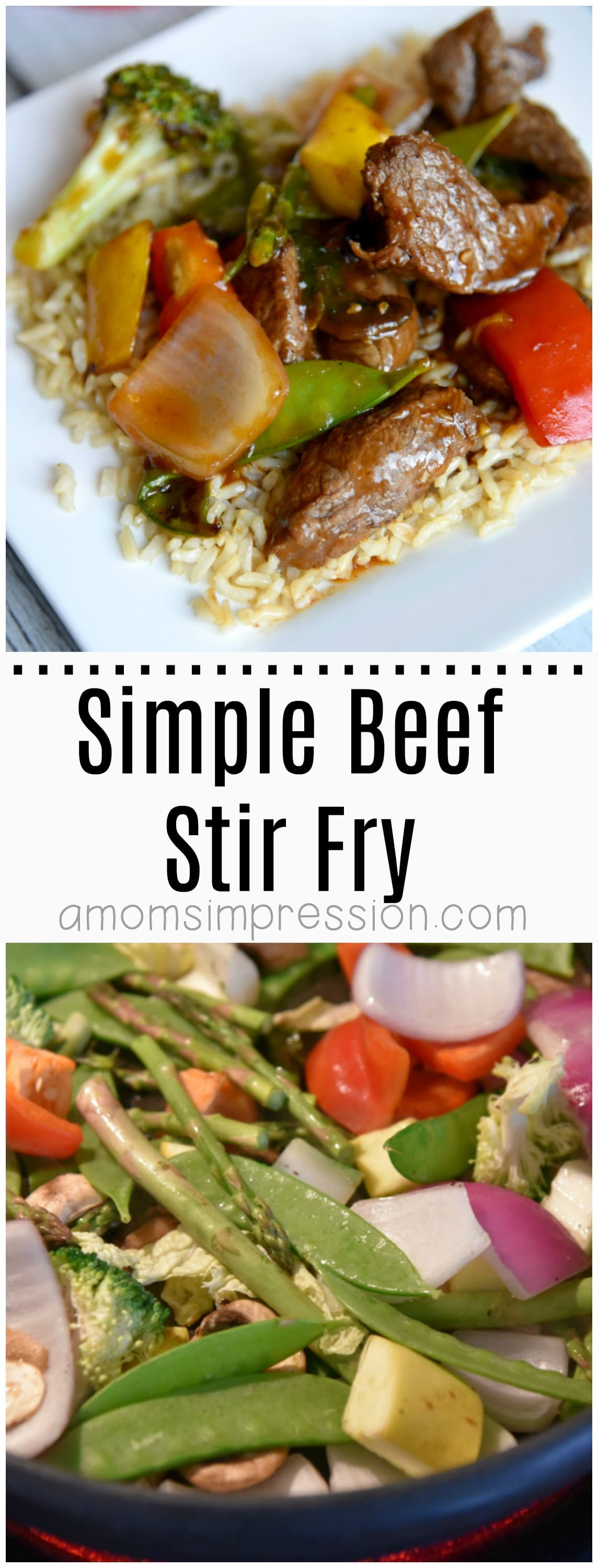 This 20-minute simple beef stir fry is easy, healthy and delicious. Filled with veggies and served over brown rice it will become a favorite recipe for your family.
