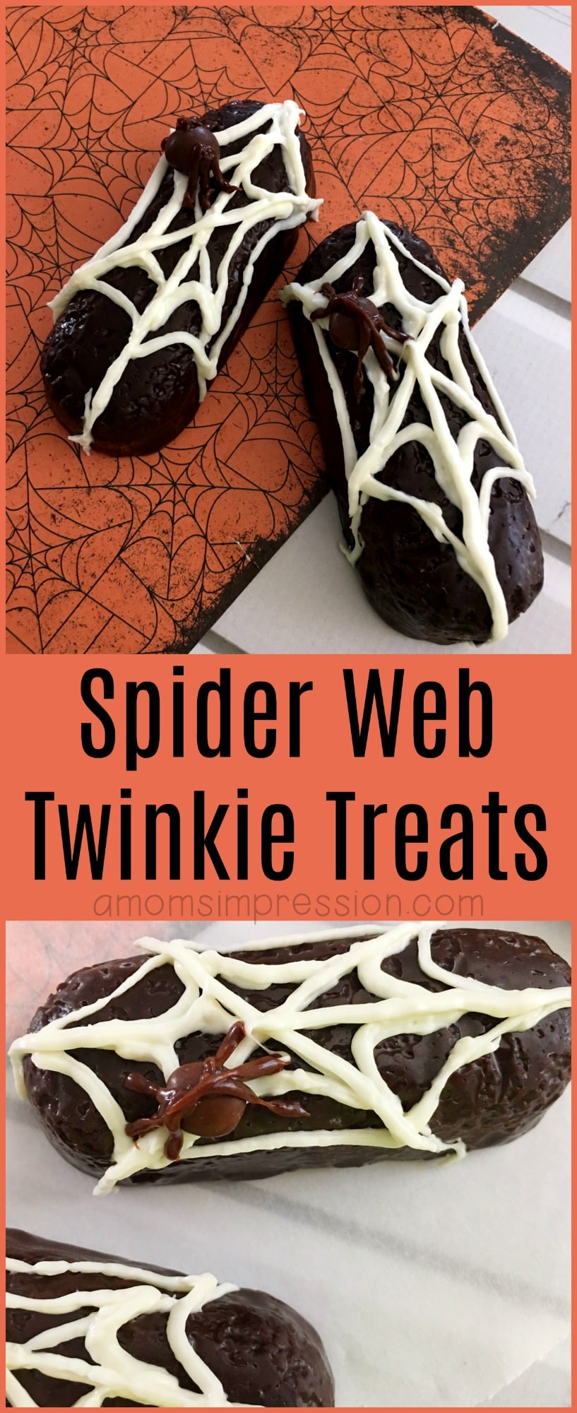 Spider Web Twinkie Treats are fun and easy to make with your kids this Halloween. They take less than 10 minutes to make and are perfect for adults, kids and school parties.