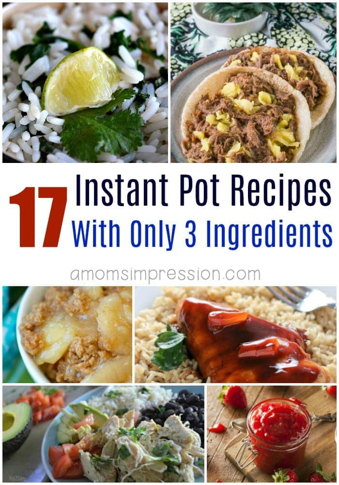 Tasty recipes don't have to include a ton of ingredients. These simple pressure cooker recipes can all be made with 3 ingredients or less in your Instant Pot. #InstantPot