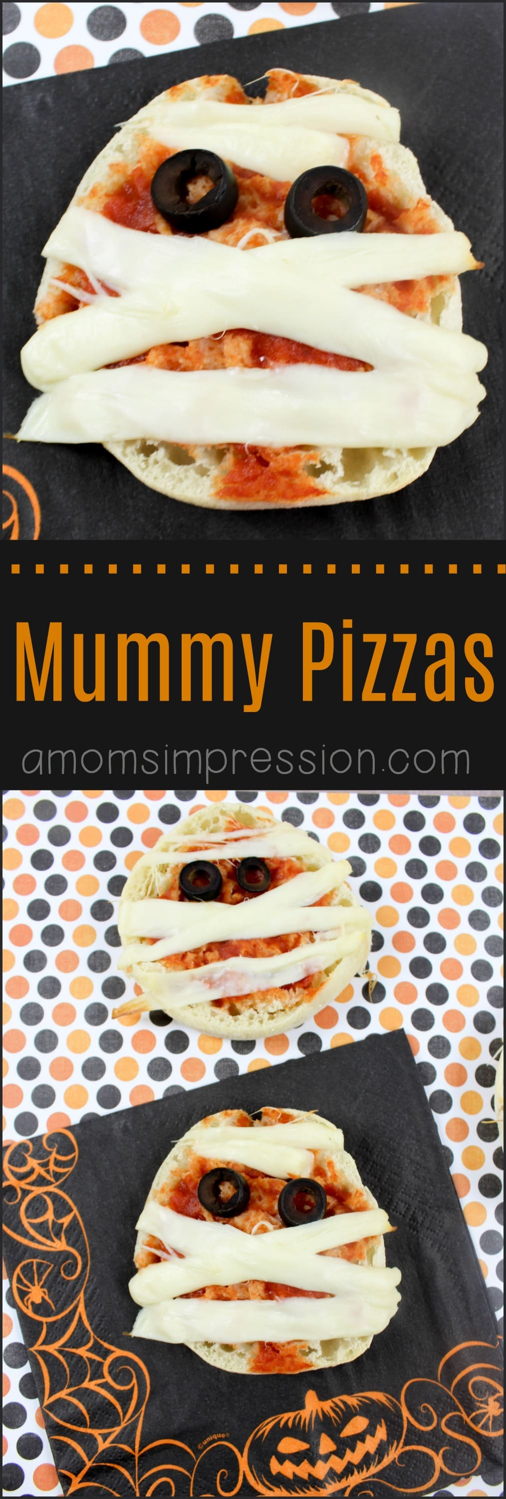These adorable Mummy pizzas are perfect for kids this Halloween. Using English muffins and string cheese, these fun bites are ready in minutes.
