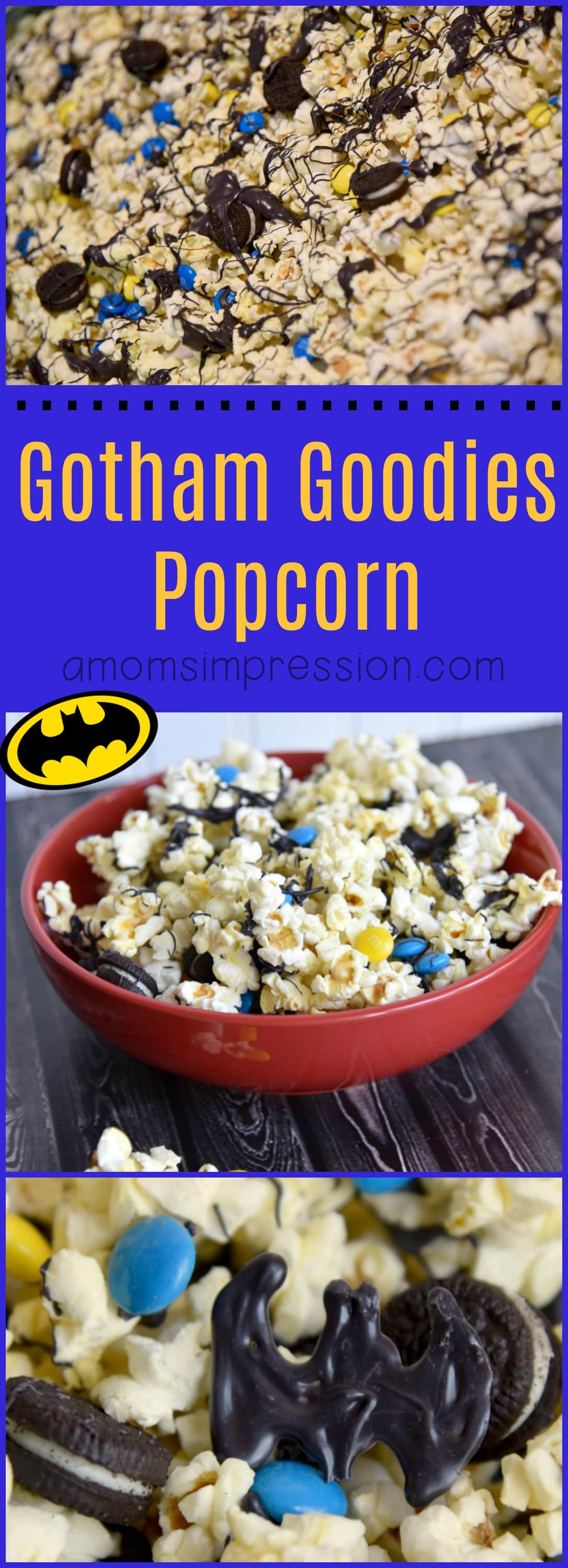 Can't get enough of Justice League? Try this caped crusader popcorn recipe for a tasty party snack or movie night treat! #ad #JusticeLeague #Batman