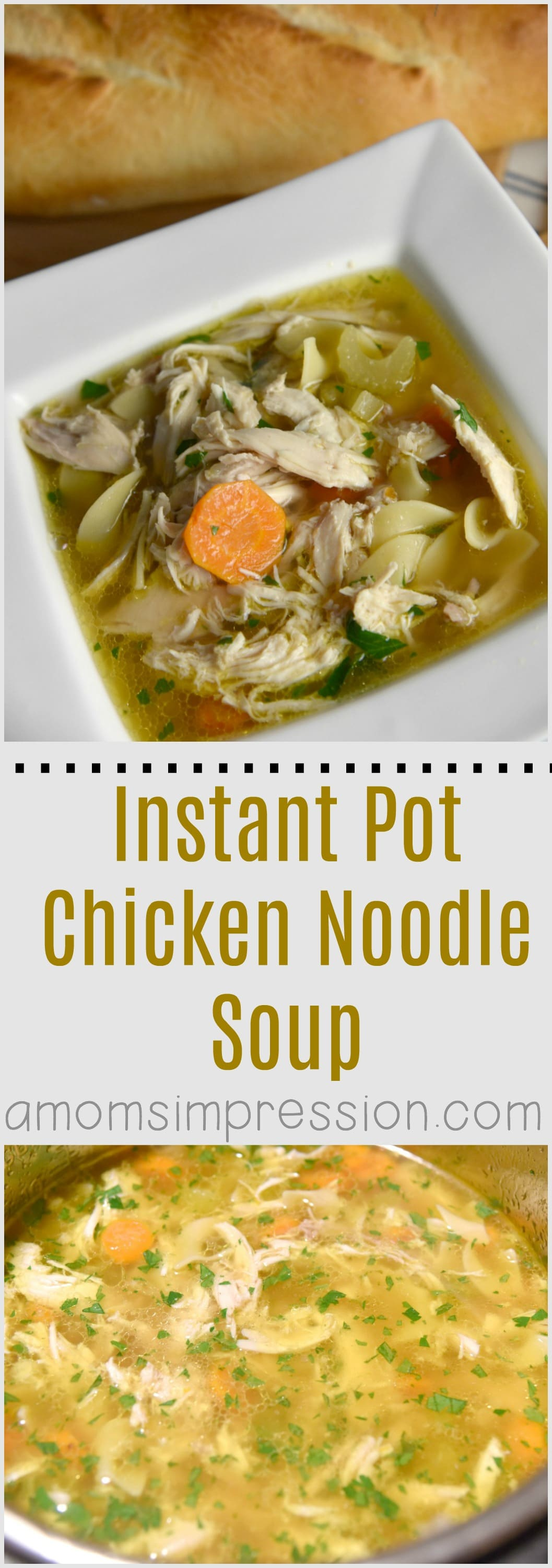 This simple Instant Pot Chicken Noodle Soup recipe can be made in no time in your electric pressure cooker. This healthy recipe uses lots of vegetables and can be easily adapted for the Paleo diet. #ad #InstantPot #InstantPotRecipes