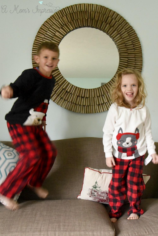Jumping kids in pajamas