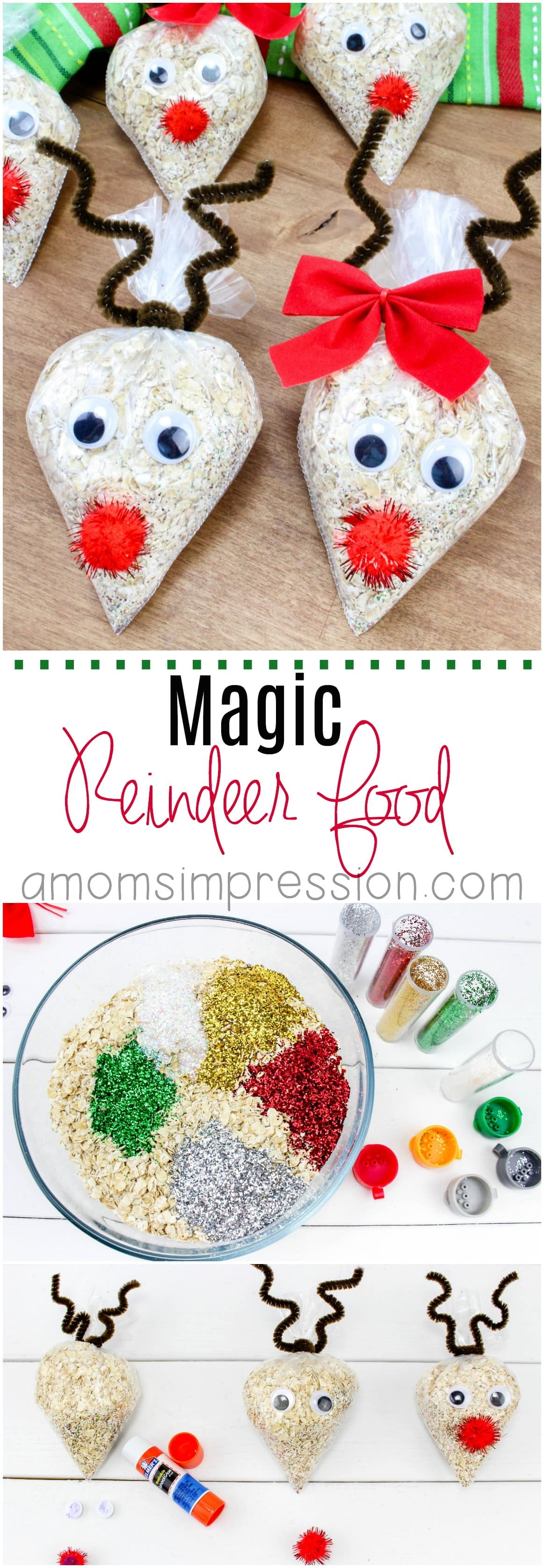 Santa is not the only one who deserves a little treat! This fun magic Reindeer Food craft recipe is fun to make for kids to spread out in the yard on Christmas Eve. #Christmas #ChristmasCrafts #ReindeerFood