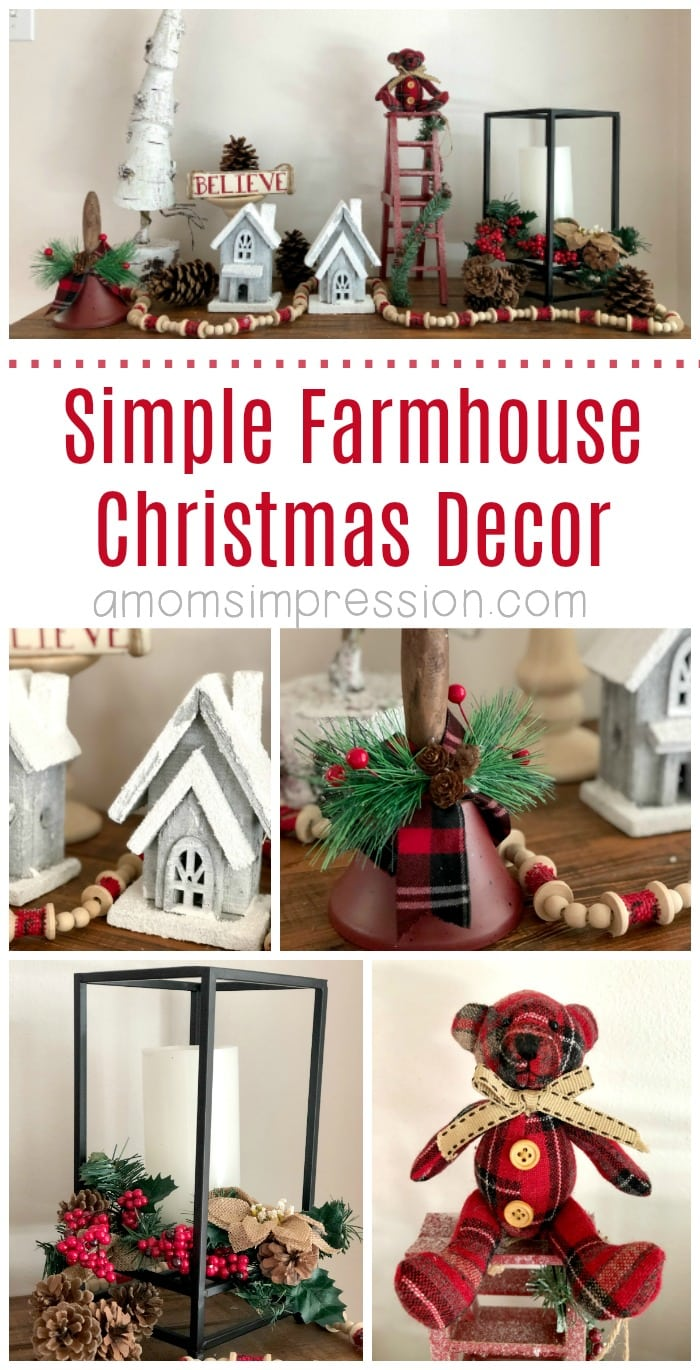 It's a Farmhouse Christmas! Here are some simple DIY farmhouse Christmas decor ideas that won't break the bank. These adorable rustic details are perfect for a mantle or an entry table. #Christmas #farmhouse #HomeDecor