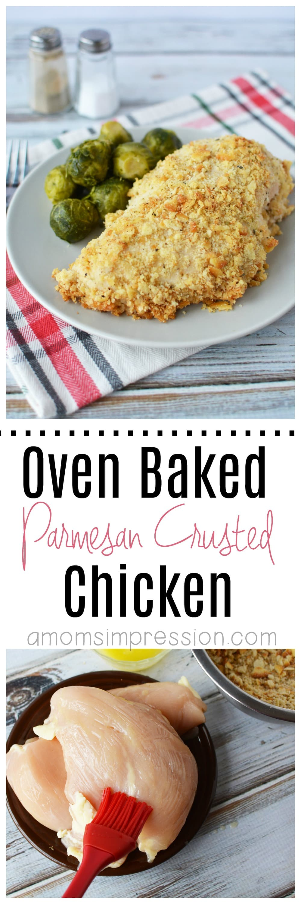 Looking to cut out a few calories? This healthier for you oven baked parmesan crusted chicken is easy to make and a lot better than the fried version. #parmesanchicken