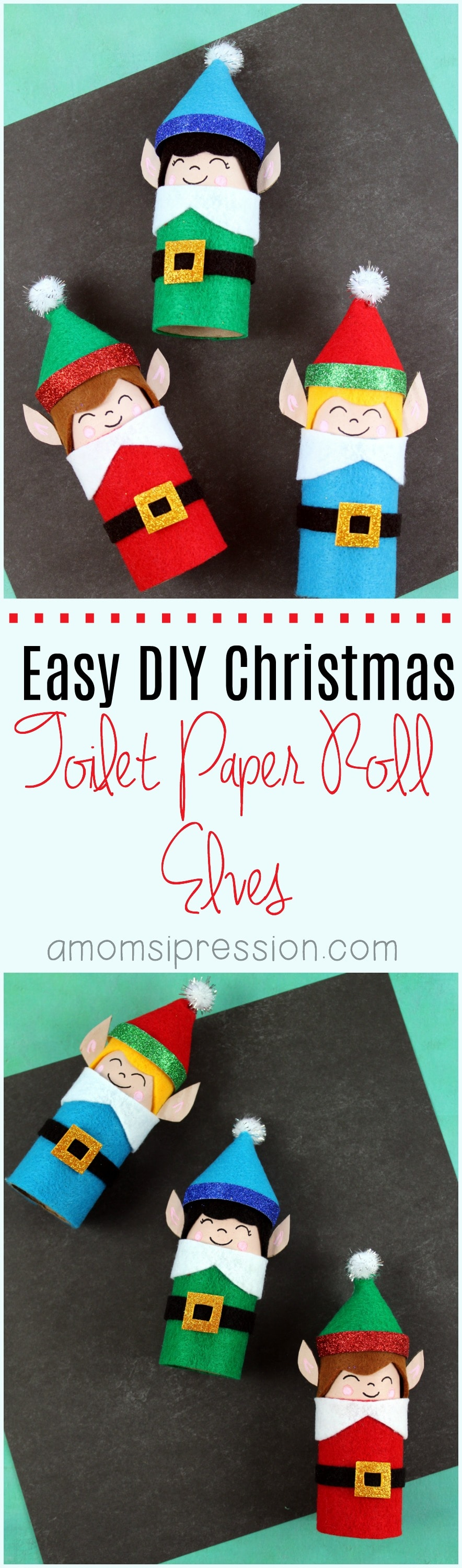 Adorable DIY Christmas toilet paper roll elves are easy crafts that you can make with your kids. They are perfect for gifts for grandparents, or they could easily be turned into ornaments for the tree. #Christmas #Crafts