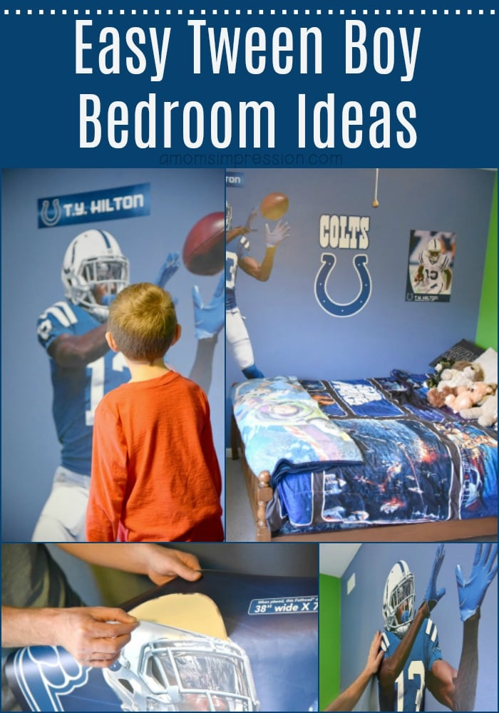 These easy tween boy bedroom ideas can transform a small space into something any boy would love in minutes. This DIY project is perfect for sports fans and is budget friendly. #ad