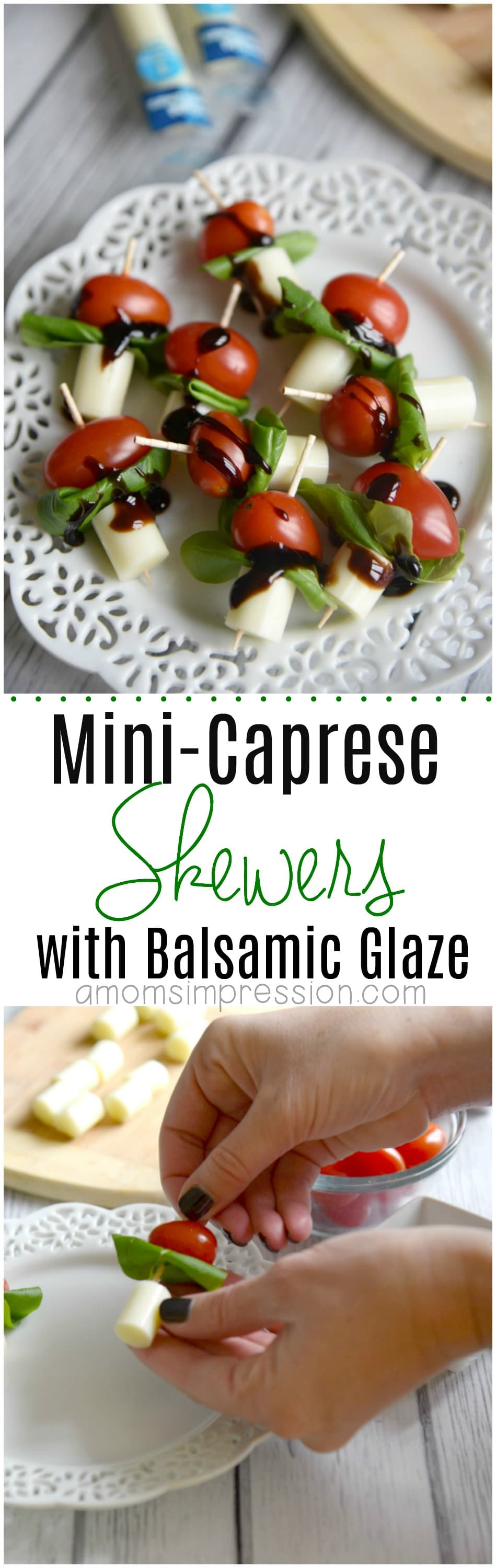 Simple Mini Caprese Skewers with Balsamic Glaze are perfect for a healthier appetizer option at any party or gathering. This recipe is easy and ready for your party in minutes. #Caprese
