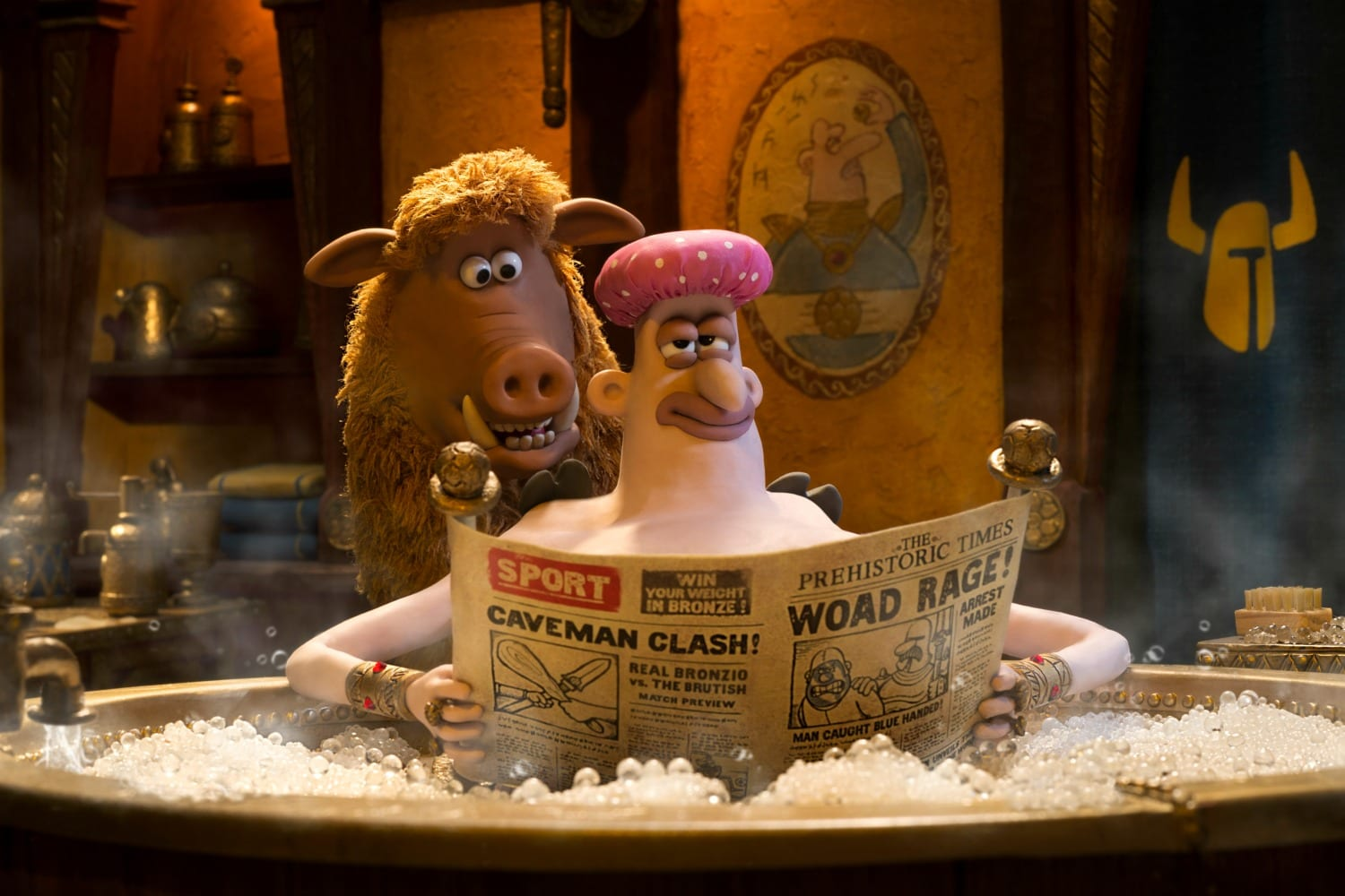 Early Man picture of caveman in hot tub