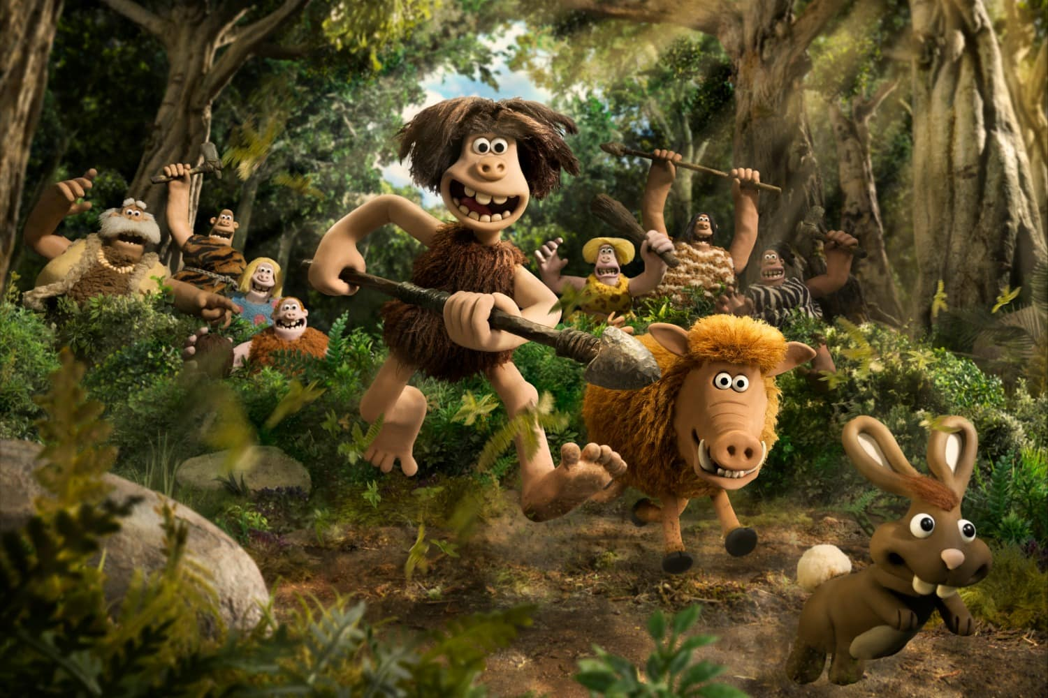 Early Man Movie still with caveman and whooly mamoth