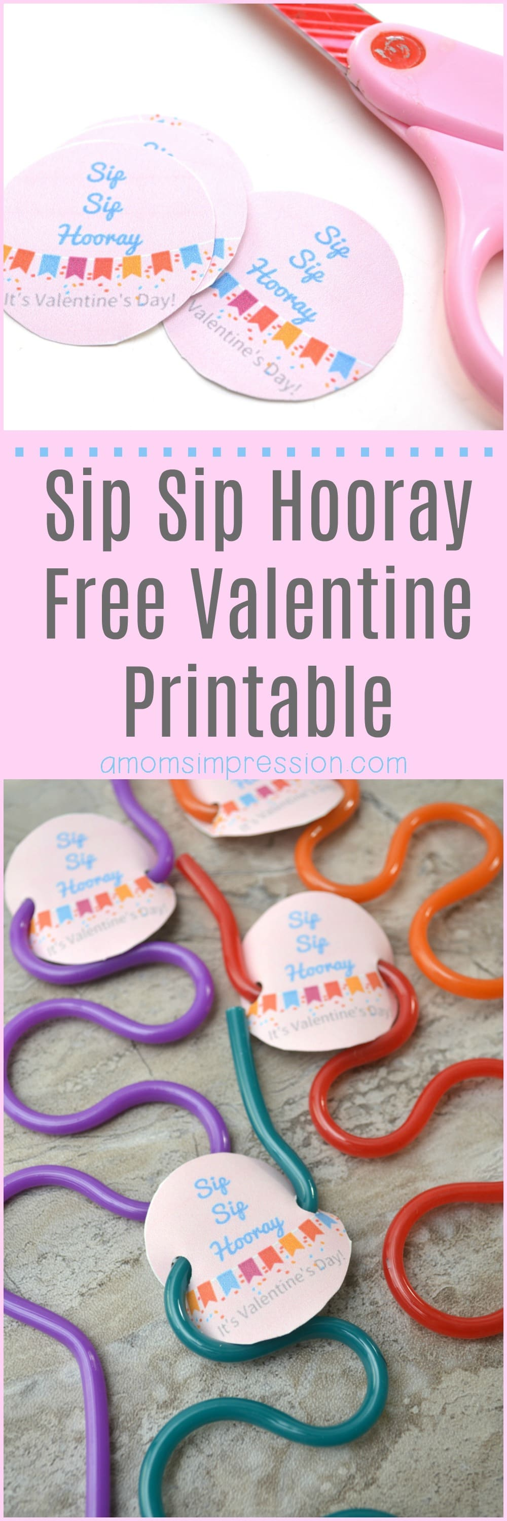 "In search of some non candy Valentine Ideas for your child's class? These fun crazy straws come with a free ""Sip Sip Hooray"" printable that are perfect for both boys and girls!"