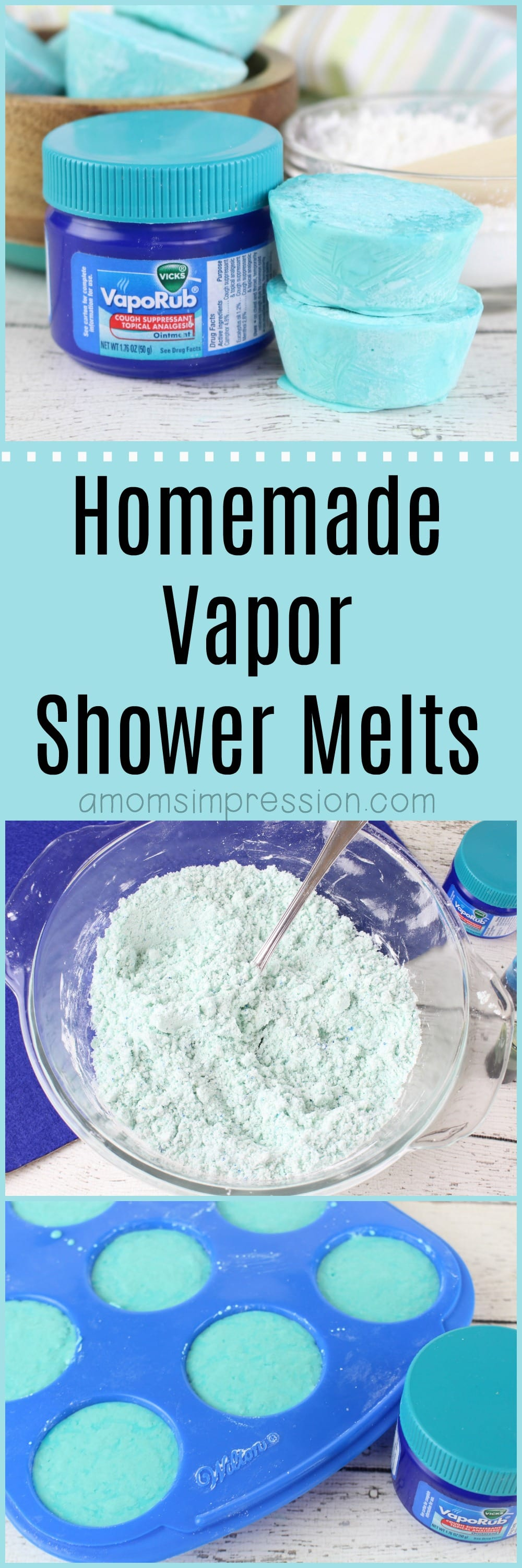 Love the discontinued Vicks shower melts? Make your own with this DIY vapor shower melts recipe. This recipe is without citric acid and uses vapor rub giving your shower the eucalyptus smell that is perfect for those of us who suffer from allergies or sinus pressure.