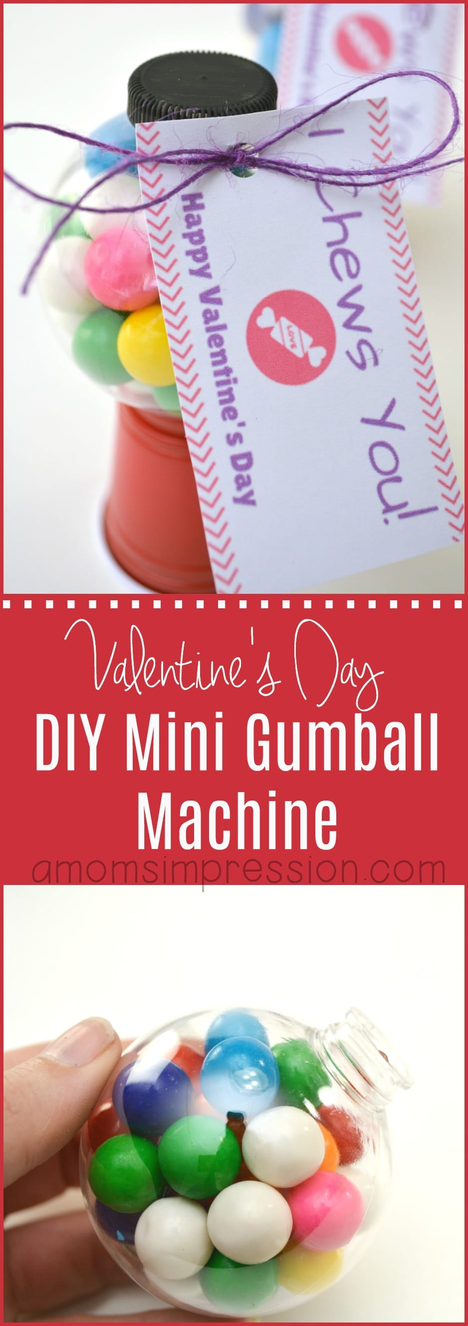 I love finding and making adorable and fun Valentine Gift Ideas for Kids. These mini gumball machines are perfect for classroom Valentines. This easy tutorial includes a free printable card and is perfect to make as party favors.
