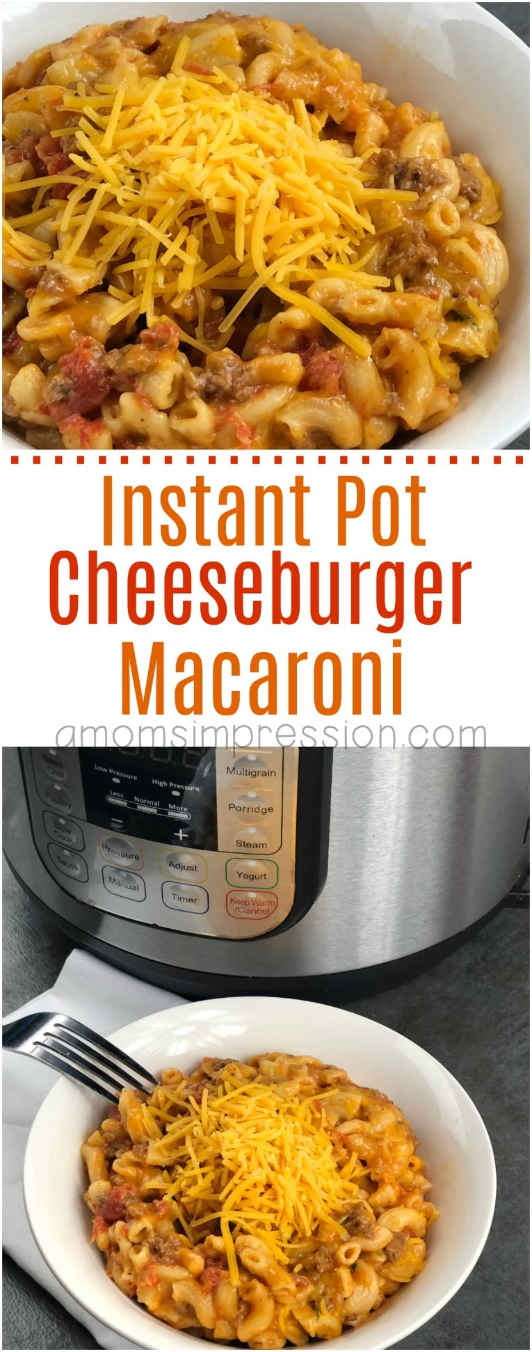 Remember eating Hamburger Helper Cheeseburger Macaroni as a child? This homemade version is easy, tasty and made in under 15 minutes in your pressure cooker. Your family is going to love this Instant Pot Cheeseburger Macaroni recipe.