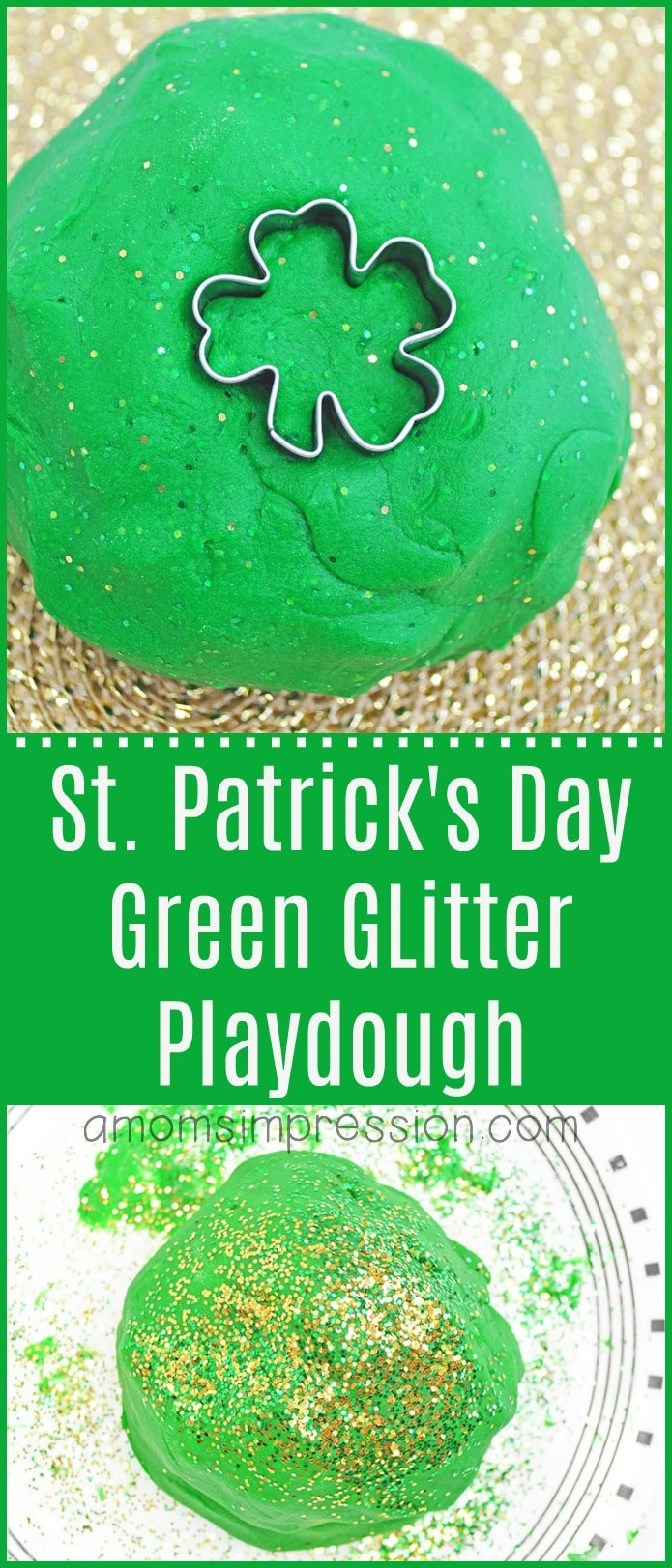 St Patricks day green glitter playdough
