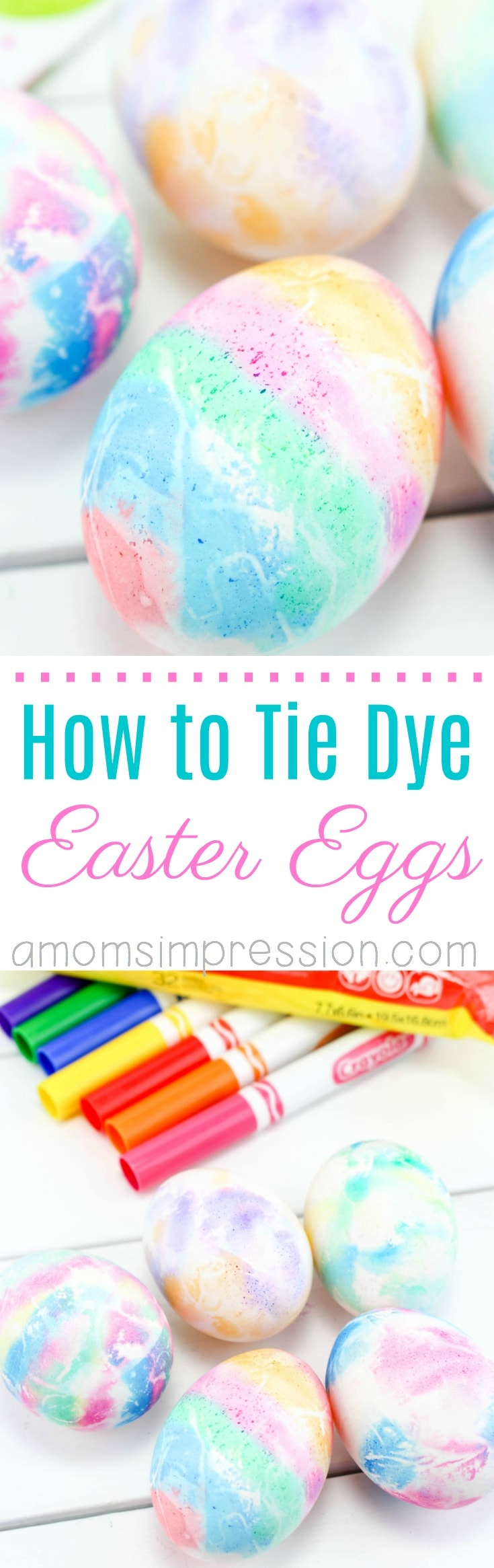 Looking for a fun way to tie dye Easter eggs that you can do with your toddler? This simple tutorial uses everyday markers making coloring and decorating eggs so easy. This is perfect for any aged kid or adult! #Easter