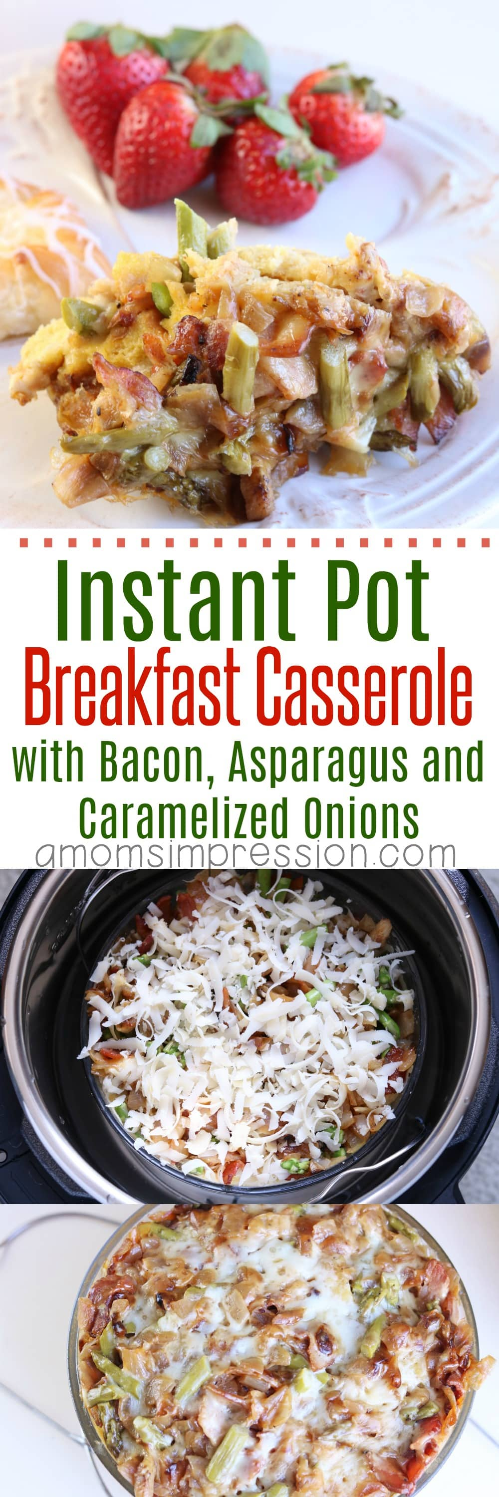 Do you use your Instant Pot for breakfast? If not you will now! This Instant Pot Breakfast Casserole with Bacon, Asparagus and Caramelized Onions looks amazing and tastes just as good. I love that it's so easy and has healthy ingredients.