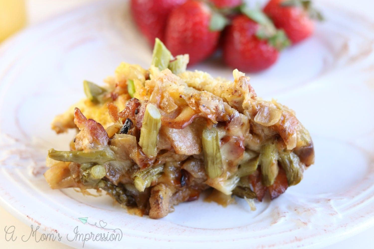 Instant Pot Breakfast Casserole with Bacon, Asparagus and Caramelized Onions