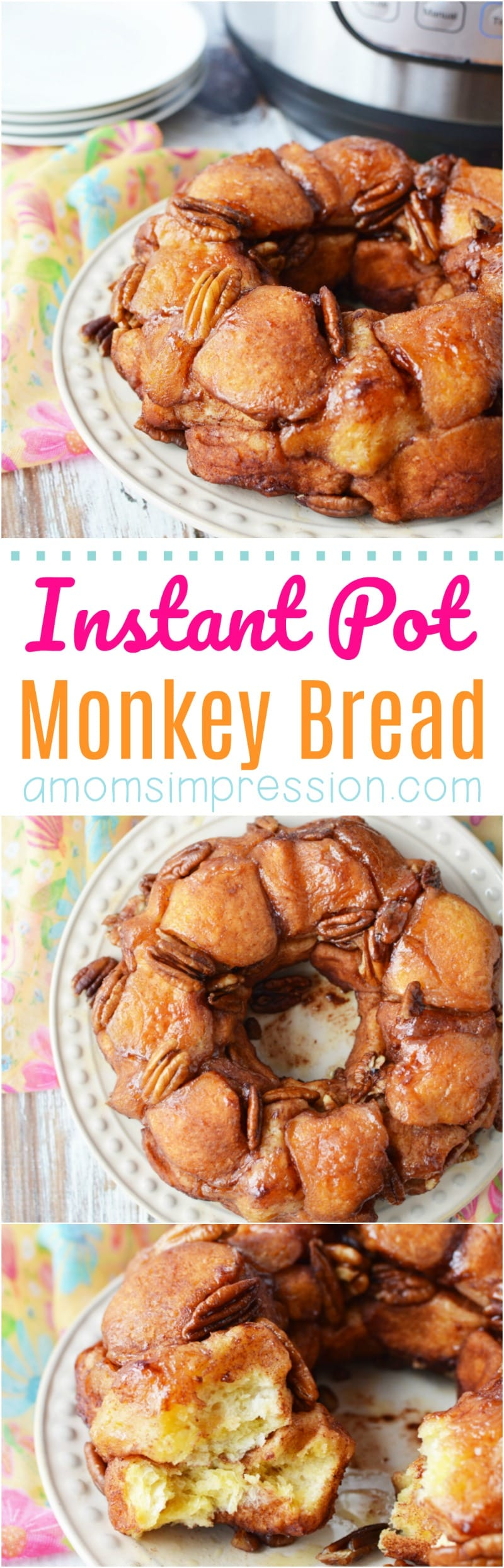 This Easy Monkey Bread recipe is perfect for a quick breakfast or even dessert. You can pull apart each little morsel to feed a crowd with ease. Since we made it with canned biscuits, you can have it ready in just a few minutes time using your Instant Pot.