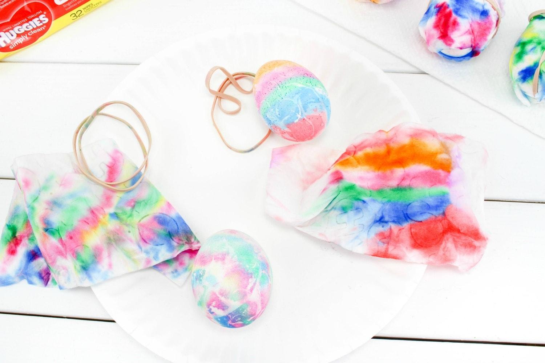 easy way to tie dye eggs
