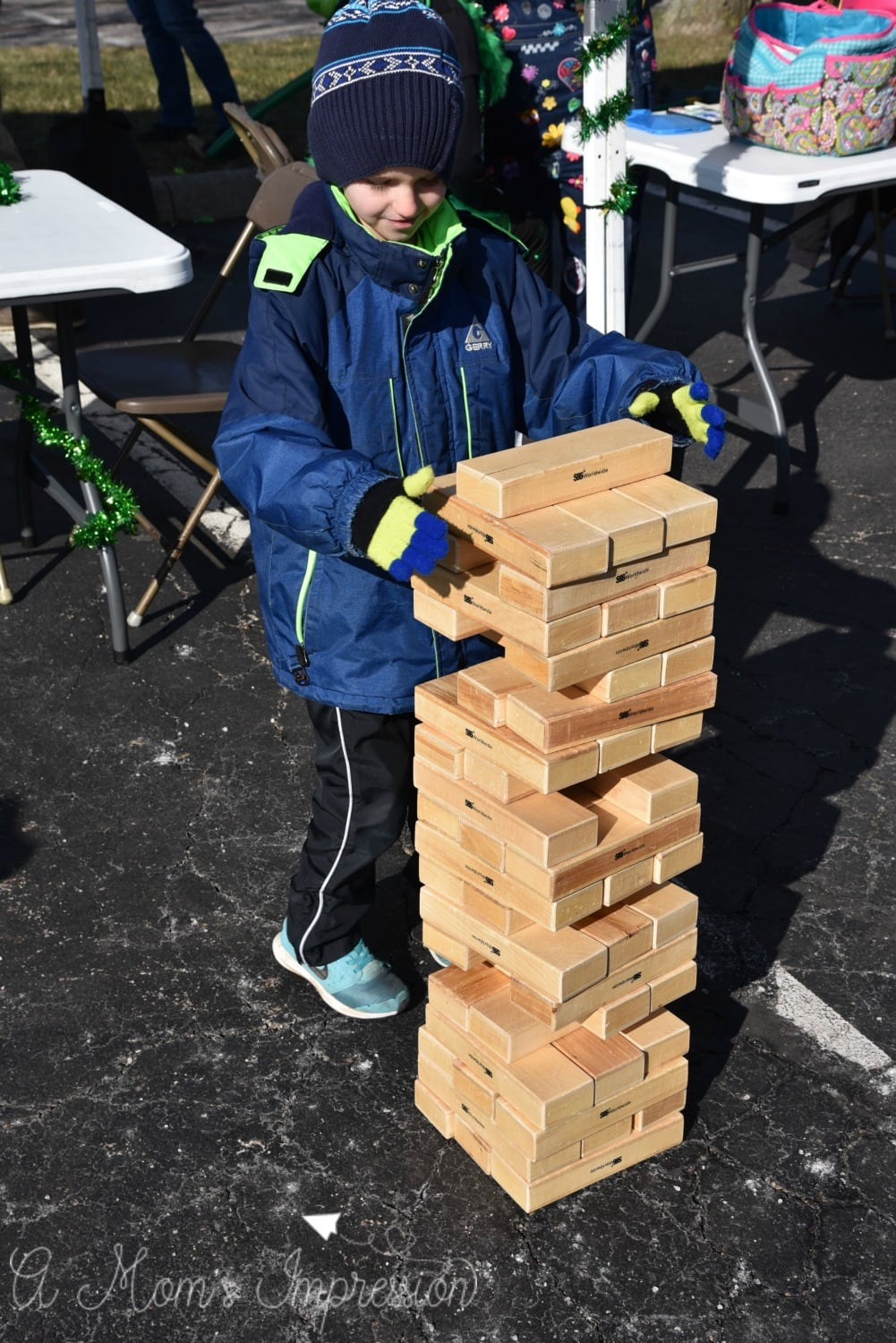 playing giant jenga