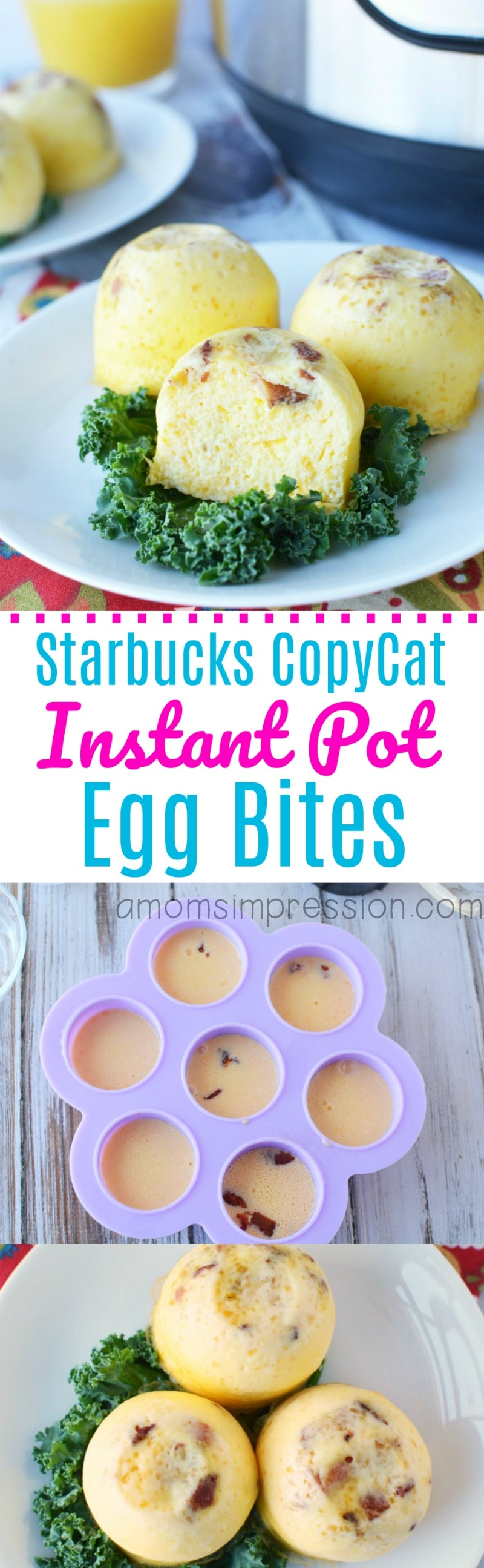 This Instant Pot copycat version of Starbuck's famous sous vide egg bites recipe are amazing! Make a healthy and tasty breakfast in your pressure cooker in minutes using a silicone baby food mold or small Mason jars!