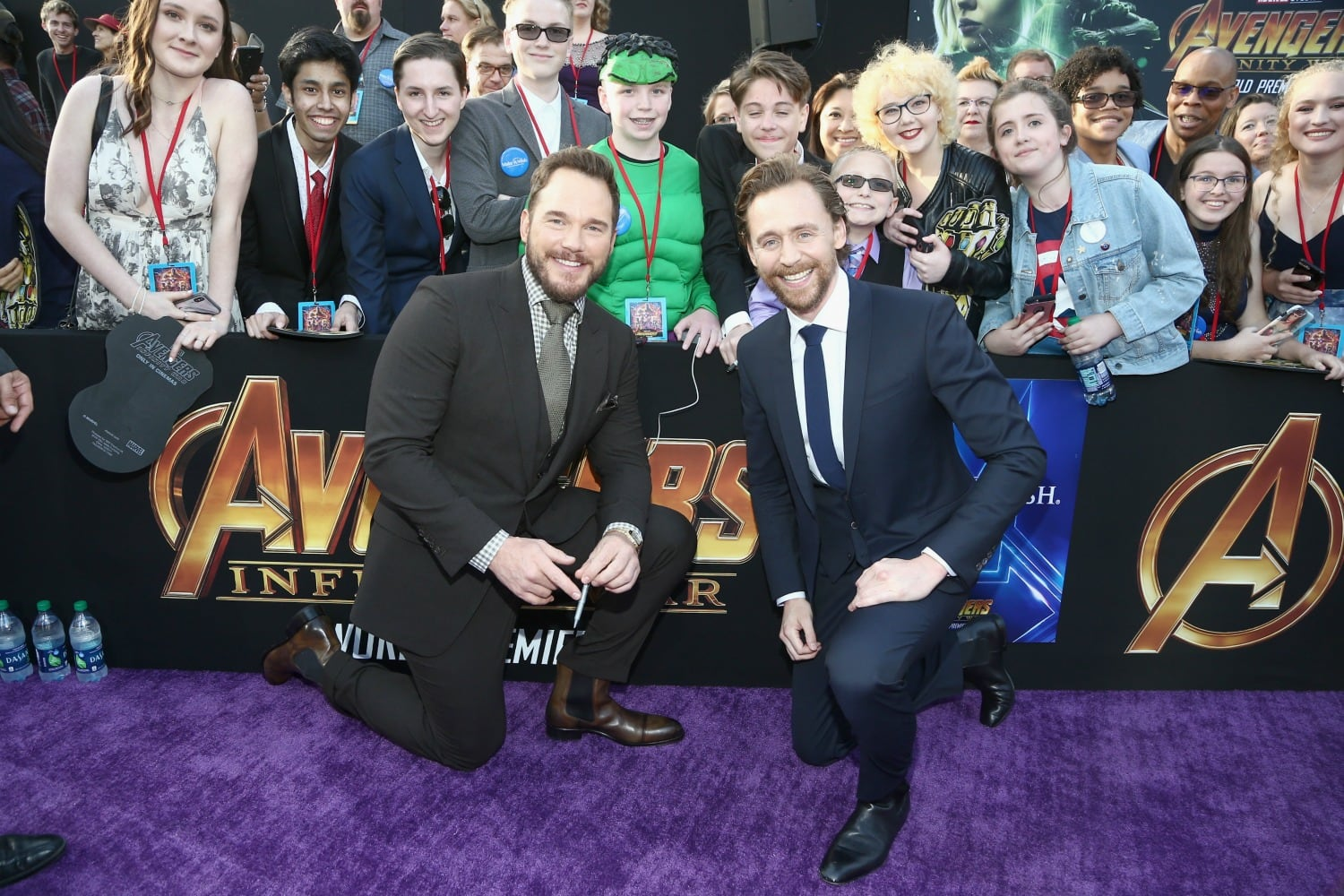 Chris Pratt and Tom Hiddleston at premiere