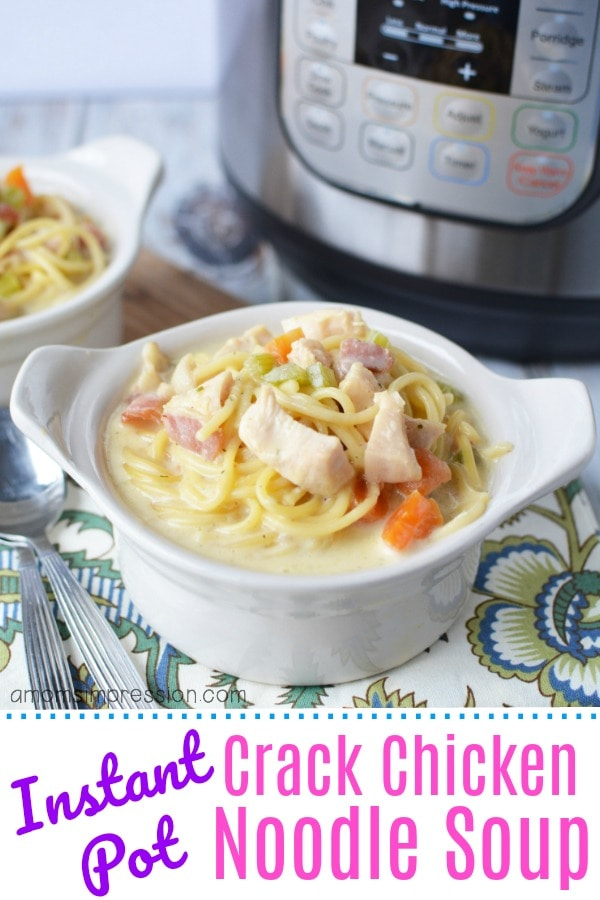 Instant Pot Crack Chicken Noodle Soup - Are you ready for the best tasting soup you have ever eaten? This creamy soup is so easy and ready in about 20 minutes using your electric pressure cooker. Chicken, cheese, ranch dressing mix, cream, chicken broth, celery, carrots, bacon, cheddar cheese and spaghetti noodles. Perfect for super picky eaters, this is a great family-friendly meal that everyone will love! #instantpot #instapot #pressurecooker #soup #bacon #chickennoodlesoup #crackchicken