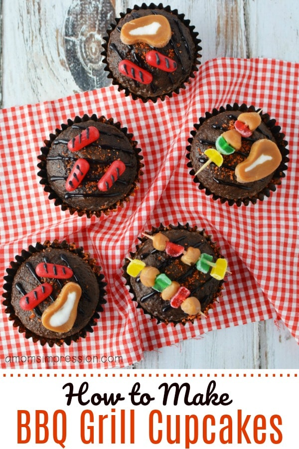 A plate full of BBQ Grill cupcakes with candy food