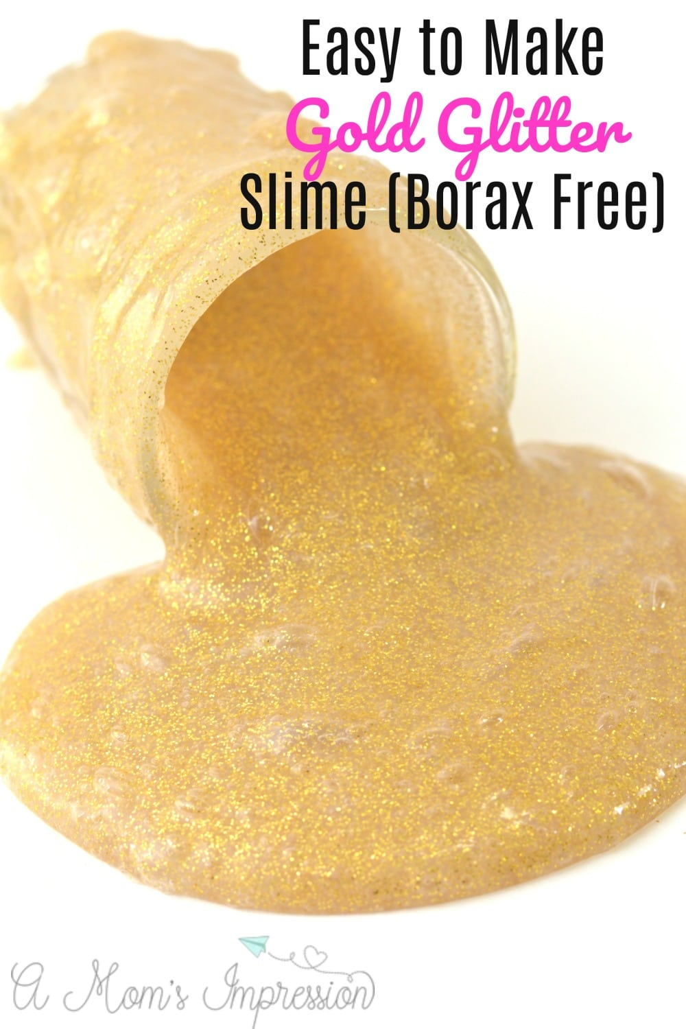 This DIY gold glitter slime recipe is simple to make in minutes and is made without Borax. Using just 2 ingredients (glitter glue and liquid starch), even your littlest one can help in the fun!