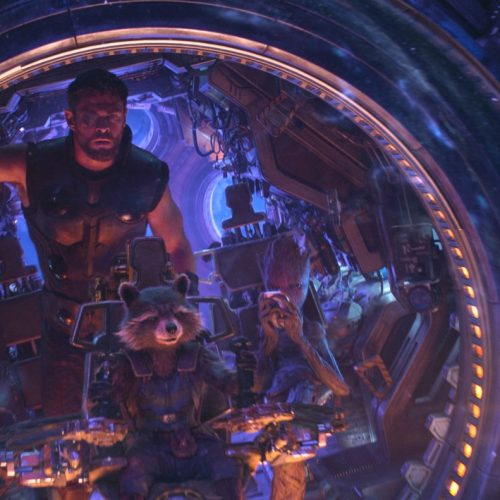 thor in space with rocket and groot
