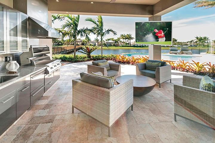 Outdoor living area with television