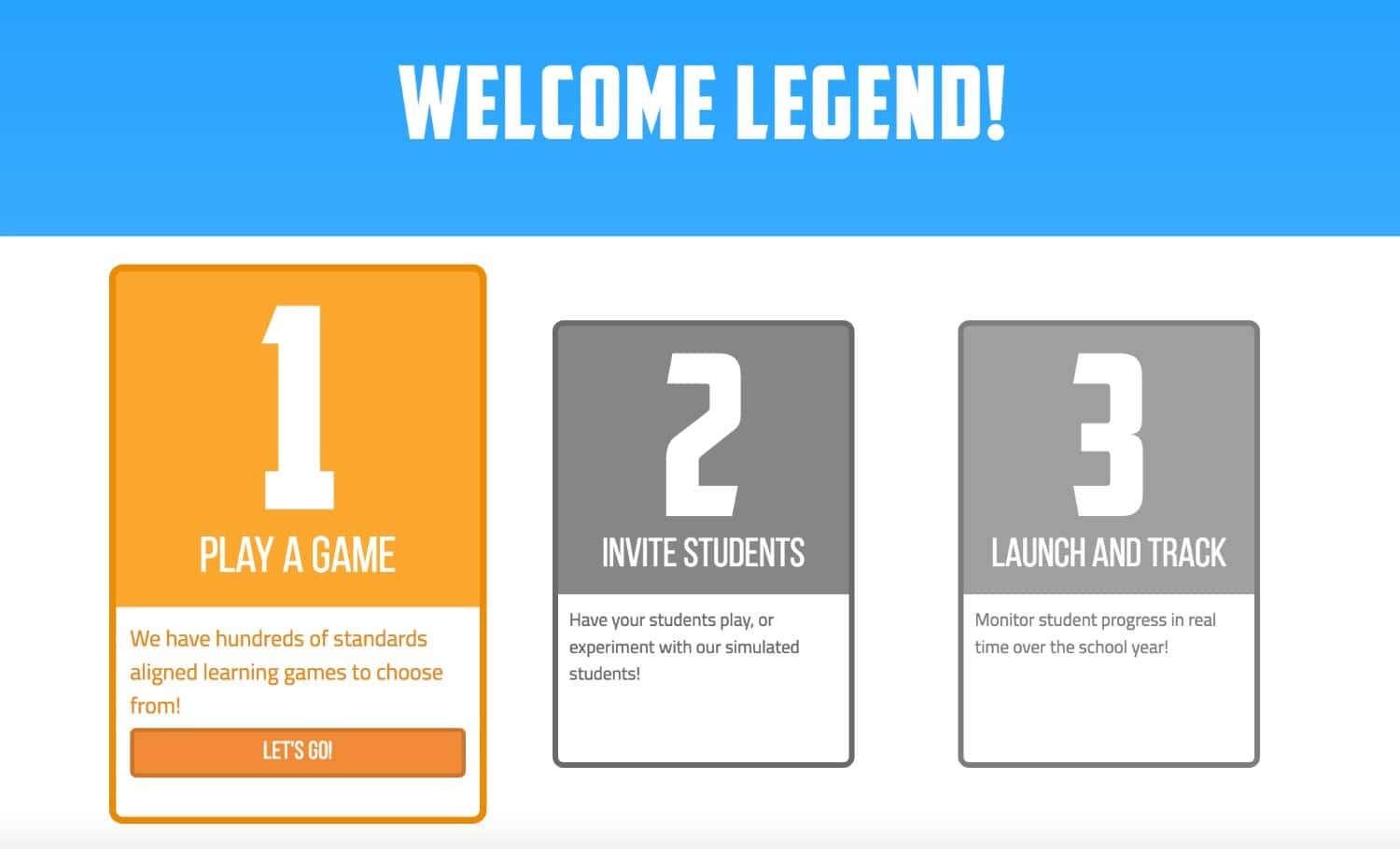Legends of Learning website