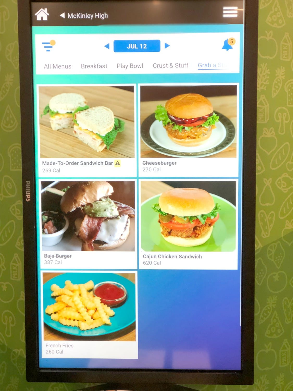 digital school lunch menu