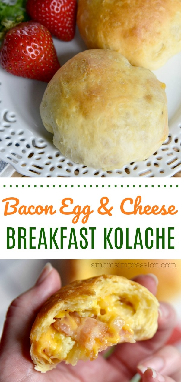 This bacon, cheese and egg kolache recipe is delicious and perfect for breakfast. This version is a simple take on the traditional Czech recipe using premade biscuit dough.