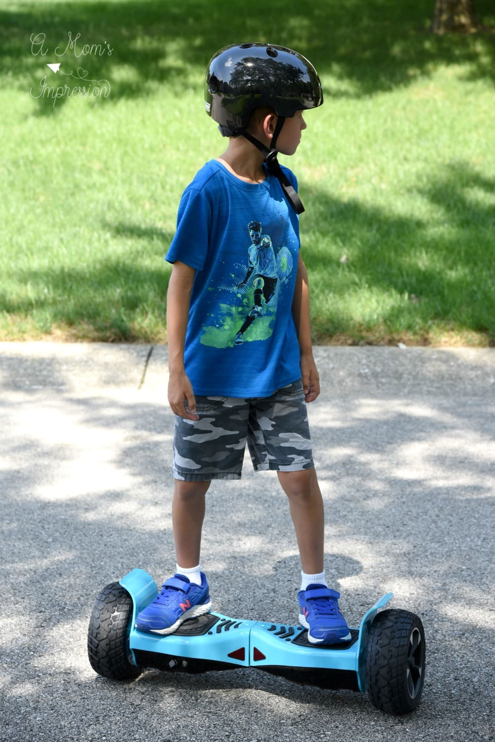 Boy Riding Blue hoverboard