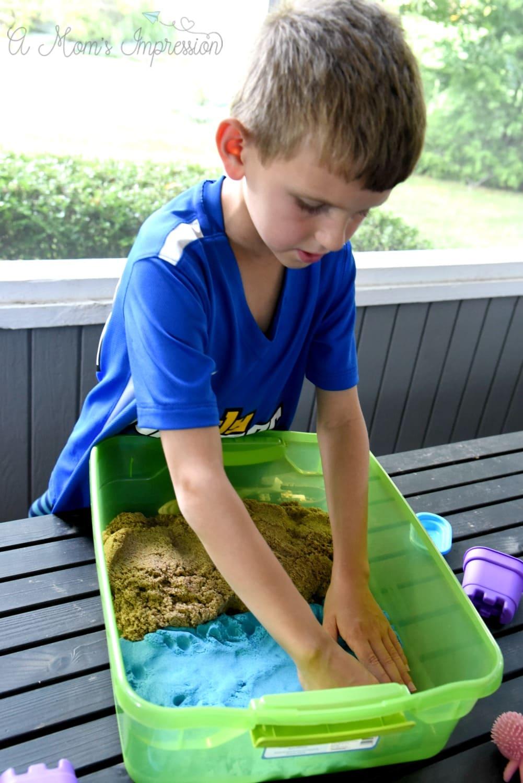 kid created sensory bin