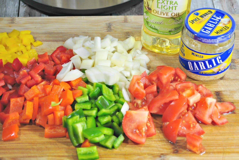 Taco pasta veggies