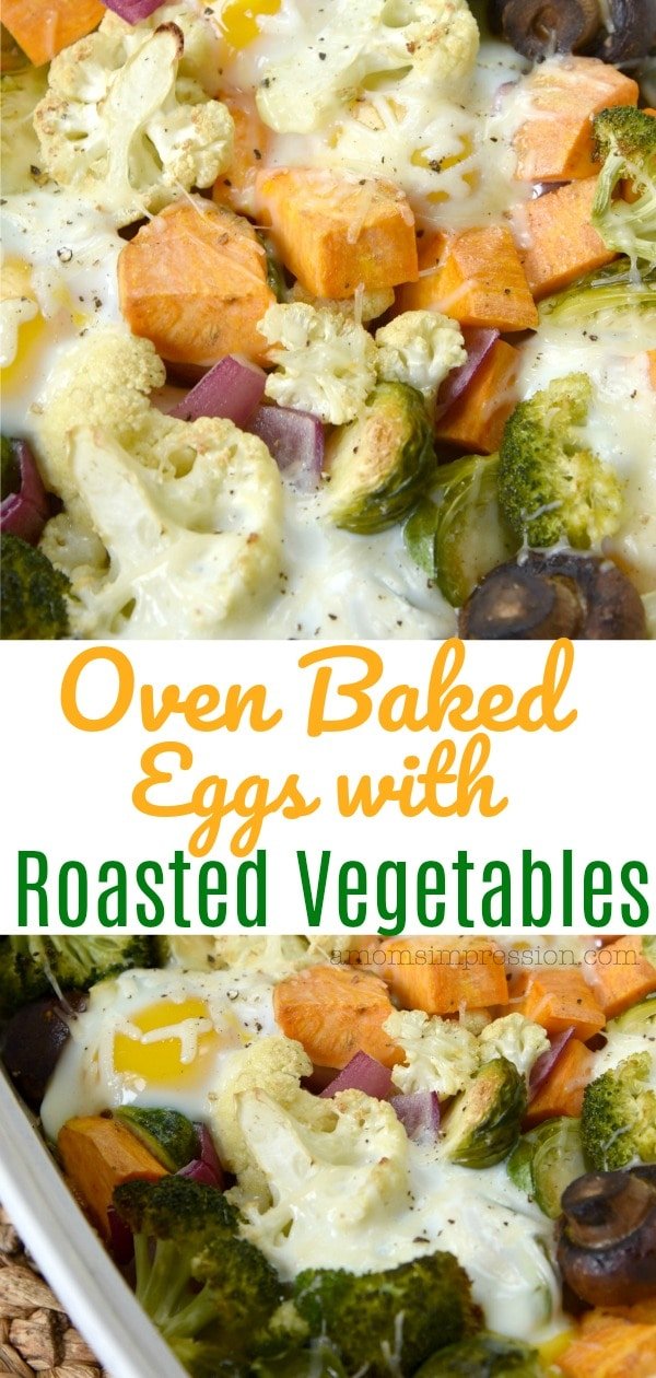 baked eggs with vegetables pin