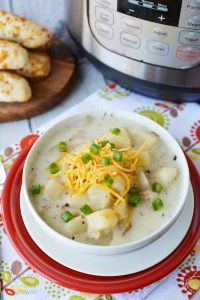 Instant Pot Potato Soup with Bacon and Cheese