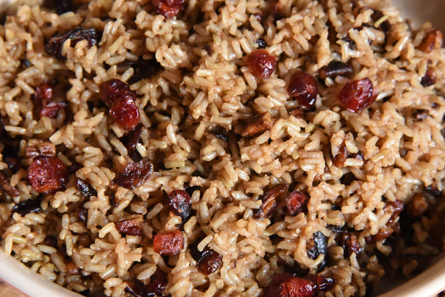 Sweet tea rice with pecans and cranberries
